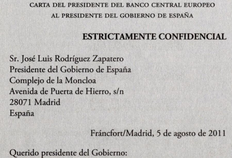 L'incipit della lettera della BCE al Governo Spagnolo - 5 Agosto 2011