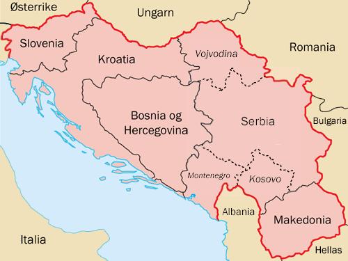 Gli stati nati dalla divisione della Yugoslavia