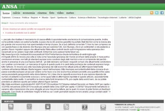 Schermata di errore del sito Ansa.it